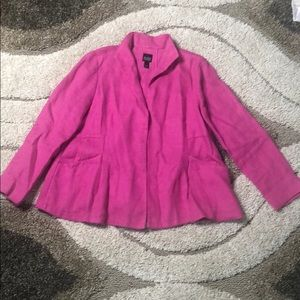 Eileen Fisher Pink open front jacket with pockets